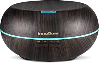 InnoGear 500ml Aromatherapy Essential Oil Diffuser Wood Grain Ultrasonic Cool Mist Diffusers with 7 Color LED Lights Waterless Auto Shut-Off