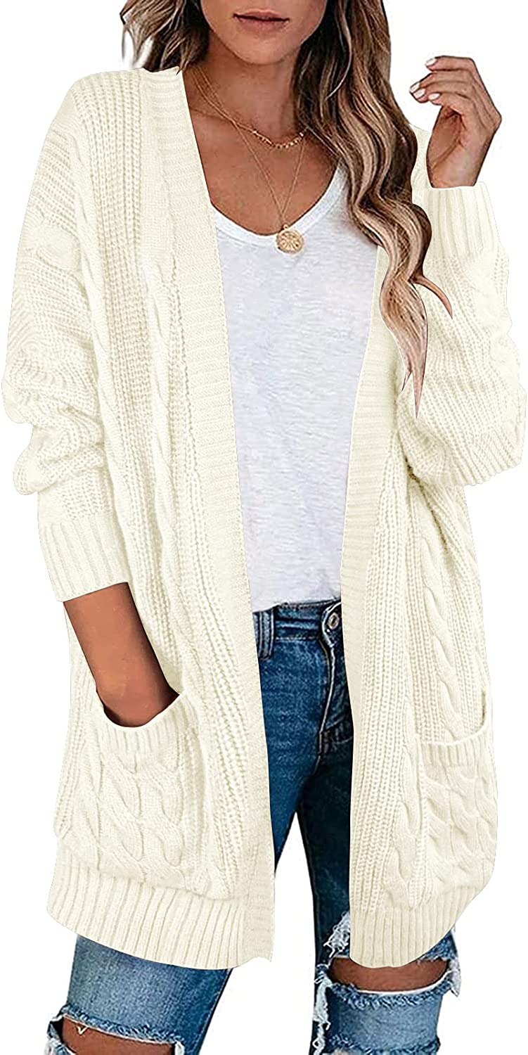 LEANI Women's Open Front Cable Knit Cardigan Long Sleeve Oversized Chunky Sweater Outwear