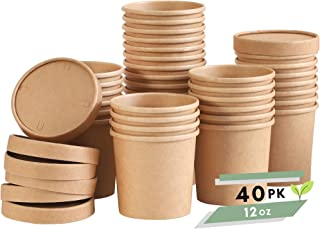 Soup Containers To Go Microwaveable - 40 Pack 12 oz | Disposable Soup Bowls with Lids | Disposable Soup Cups with Lids | P...