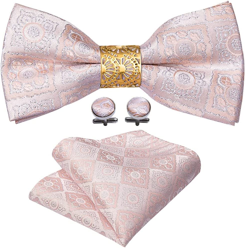 CDQYA Pink Floral Silk Pre-Bow Tie For Men Wedding Accessorie Adjustable Butterfly Handky Removable Gold Ring Set (Color : Pink, Size : One size)