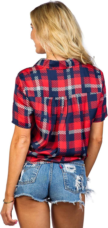 Tipsy Elves Womens USA Patriotic Tie Shirt Cute American Flag Patriotic Hawaiian Shirt for Ladies
