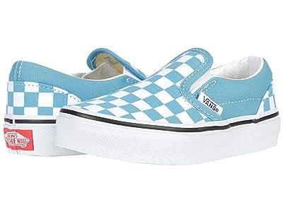 Vans Kids Classic Slip-On (Little Kid) ((Checkerboard) Delphinium Blue/True White) Kids Shoes