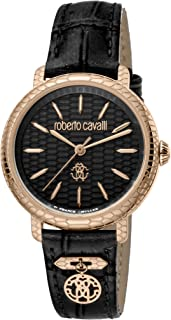 ROBERTO CAVALLI Women's RC-88 Gold Tone Swiss Quartz Watch with Leather Calfskin Strap, Black, 18 (Model: RV1L098L0056)