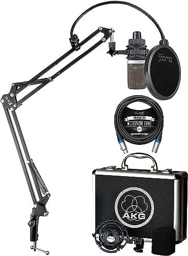 wholesale AKG Pro Audio C214 Professional Large-Diaphragm outlet online sale Condenser Microphone for Vocals, Guitars, Pianos, String and Percussion Instruments Bundle with Blucoil 10' XLR Cable, and Boom Arm Plus wholesale Pop Filter sale