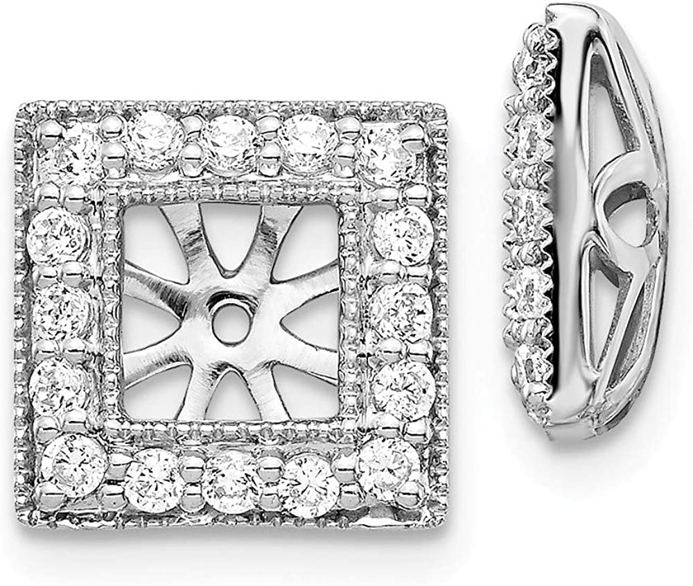 Solid 14K White Gold Diamond Square Jacket Earrings 10mm (.48 cttw.)