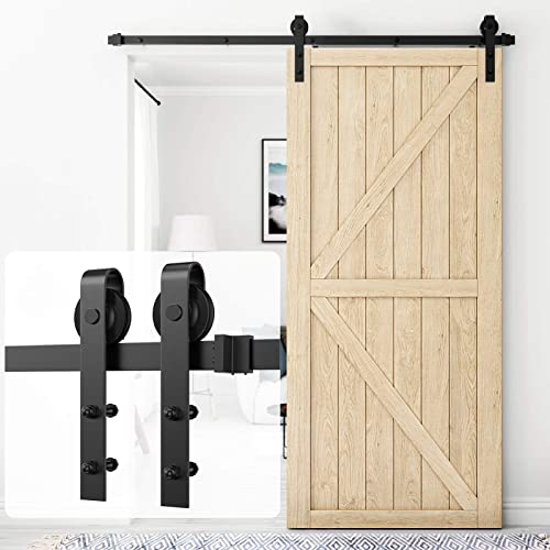 """popular Homlux 6.6ft Heavy Duty Sturdy Sliding Barn Door Hardware Kit Single Door - Smoothly and Quietly - Simple and sale Easy outlet online sale to Install - Fit 1 3/8-1 3/4"""" Thickness Door Panel(Black)(J Shape Hangers) outlet sale"""