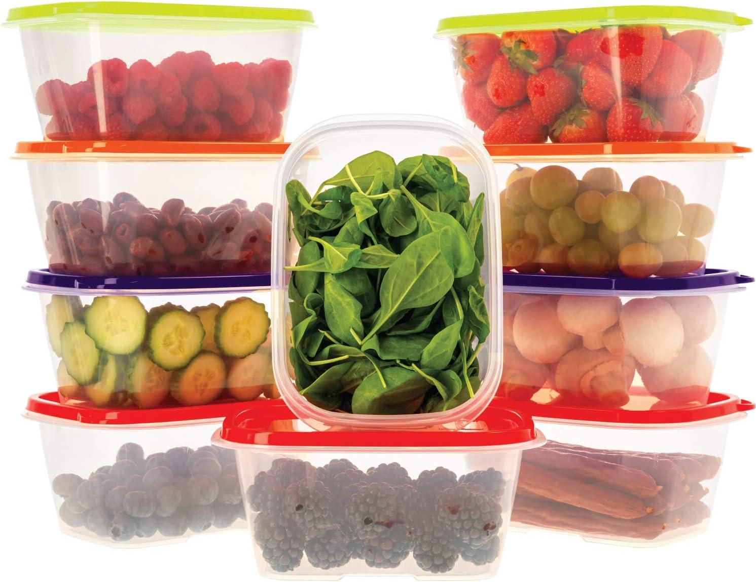 Oursson Recipientes Plastico para Alimentos Almacenaje Cocina con Tapas Multicolor | Set de 10 Piezas x 1L | Sin BPA | Tapers para Comida Hermetico | Lunch Box | Fiambrera | Organizador Frigorifico |
