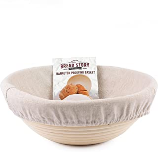 (22 cm) Round Banneton Proofing Basket Set - Brotform Handmade Unbleached Natural Cane For homemade Crusty Fresh, Easy to ...