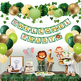 Sweet Baby Co. Jungle Theme Safari Baby Shower Decorations with Banner, Animal Centerpieces, Tropical Leaves, Greenery Garland, Lanterns, Pom Poms, Honeycomb | Neutral Party Supplies for Boy or Girl