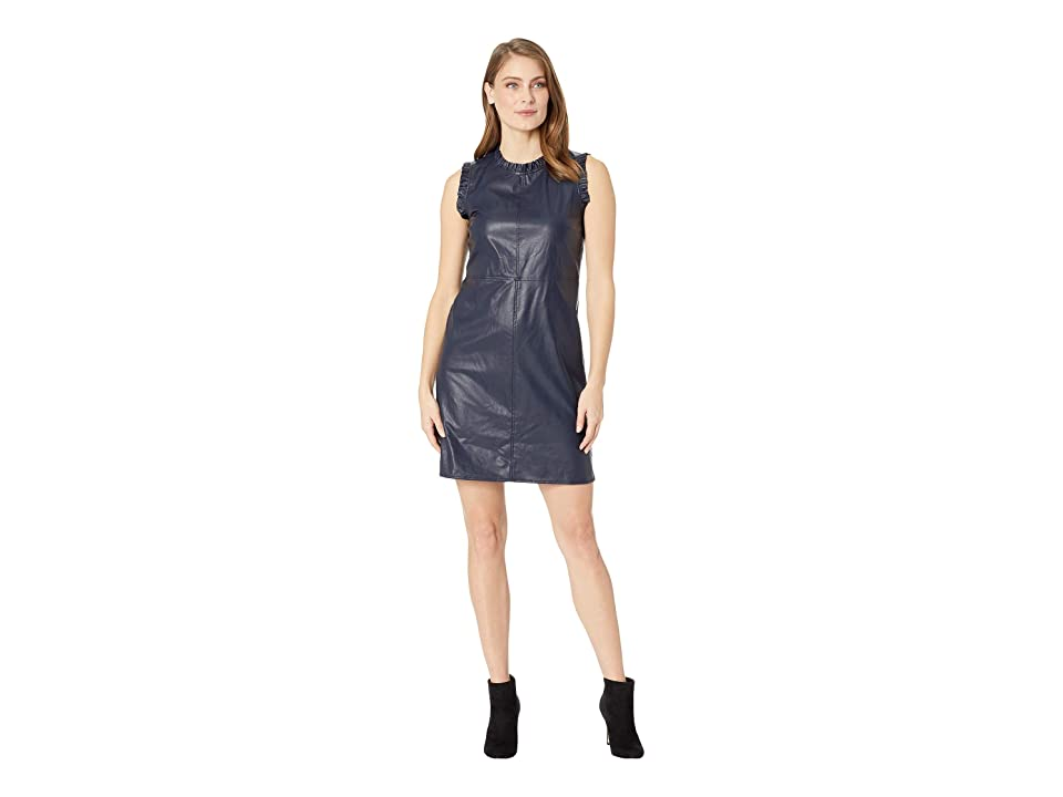CeCe Sleeveless Ruffled Pleather Dress (Caviar) Women