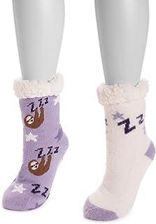 Muk Luks Women's Cabin Sock, 2 Pairs, Purple Sloth, sz L/XL