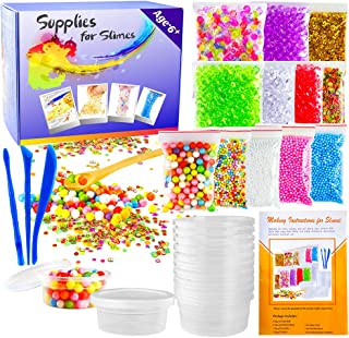 OPount 15 Pack Slimes Making Kit Including Fishbowl Beads Foam Balls Slimes Storage Containers Confetti Fruit Slices Slime...