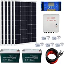 ECO-WORTHY 600 Watts Complete Solar Kit Off Grid: 5pcs 120W Mono Solar Panel Module + 60 A Charge Controller + Combiner Box + Solar Cable + Z Brackets + 200Ah 12V Batterry
