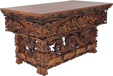 DharmaObjects Solid Sheesham Wood Hand Carved Shrine Altar Meditation Table (Large, Dark)