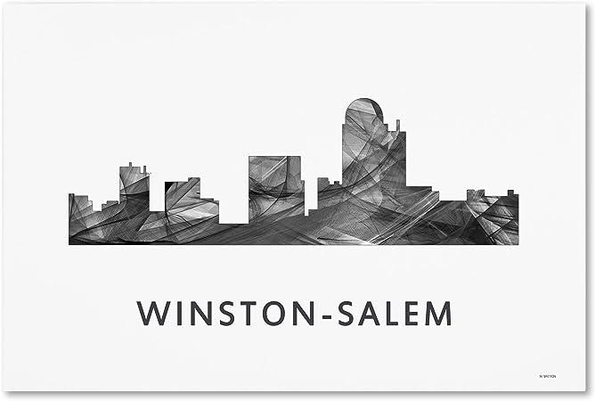 Winston Salem Nc Skyline Wb Bw By Marlene Watson 12x19 Inch Canvas Wall Art Posters Prints