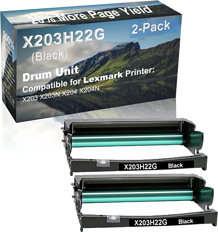 2-Pack Compatible X203H22G Drum Kit use for Lexmark X203 X203N X204 X204N Printer (Black)
