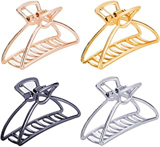 Large Metal Hair Claw Clips Hair Catch Barrette Jaw Clamp for Women Half Bun Hairpins for Thick Hair(Silver+Gold+Rose Gold...