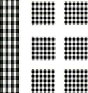HaiMay Black and White Plaid Table Runner and Placemats Set for Holidays,Christmas,Spring,Summer, Everyday Use, 1 Table Runner and 6 Placemats
