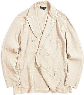 [ラルディーニ] ニットジャケット 6Bダブル ピークドラペル メンズ 春夏 コットン 100% 無地 ベージュ イタリア ブランド カジュアル ブートニエール付き Lサイズ