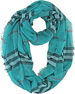Lightweight Stripe Infinity Circle Scarf With Frayed Edge