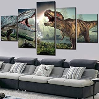 Home Decor Framework Canvas Painting HD Prints 5 Pieces Dinosaur Movie Wall Art Modular for Living Room Pictures Artwork Poster-Without Frame