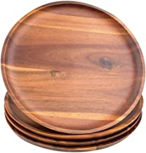 AIDEA Acacia Wood Food Serving Charger Plates 11-inch Set of 4 Round Wooden Serving Dishes Snack Plates 8 inch 11 Inch Pla...