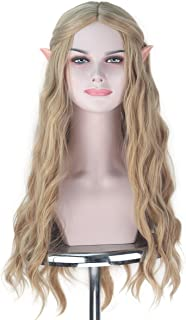 Miss U Hair Long Wavy Flax Golden Ash Blonde Hair Women Party Cosplay Costume Wig with Elf Ears Halloween