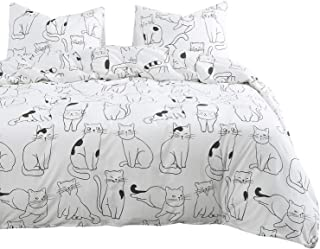 Wake In Cloud - Cats Duvet Cover Set, 100% Cotton Bedding, White with Cats Drawing Pattern Printed, Zipper Closure (3pcs, Queen Size)