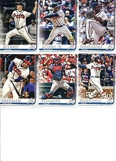2019 Topps Series 1 Baseball Atlanta Braves Team Set of 10 Cards: Ronald Acuna Jr.(#1), Kolby Allard(#38), Touki Toussaint(#61), SunTrust Park(#71), Julio Teheran(#118), Freddie Freeman(#183), Dansby Swanson(#191), Tyler Flowers(#244), Kevin Gausman(#317), Nick Markakis(#350)