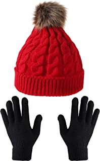 Tatuo Women's Winter Knitted Beanie Hat with Faux Fur Pom Slouchy Hat and Full Finger Knitted Gloves