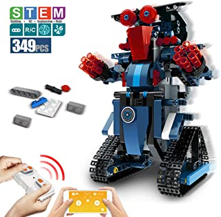 DAZHONG Building Block Robot App Controlled Toy Educational Electric RC Robot Bricks STEM Toys with LED Intelligent Charging Gift for Boys Girls Age of 6,7,8,9-14 Year Old (Blue)