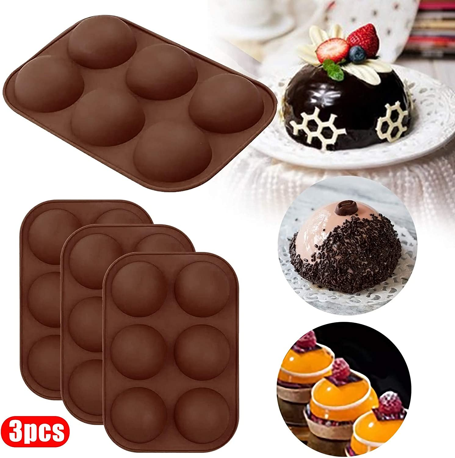 Bomb 6 Holes Chocolate Ball Molds DIY Baking Ball Mold for Chocolate Dome Mousse 3 Pcs Sphere Silicone Mold 2.5 Cake 1 PC, J Jelly