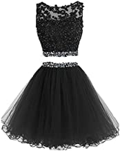 Henglizh Short Lace Appliques Beaded Two Pieces Prom Dress Homecoming Dresses