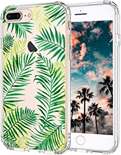 iPhone 8 Plus Case, iPhone 7 Plus Case, MOSNOVO Tropical Palm Leaves Clear Design Printed Back Phone Case with TPU Bumper Case Cover for iPhone 7 Plus/iPhone 8 Plus