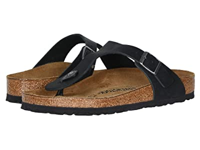 Birkenstock Gizeh Oiled Leather (Black Oiled Leather) Women