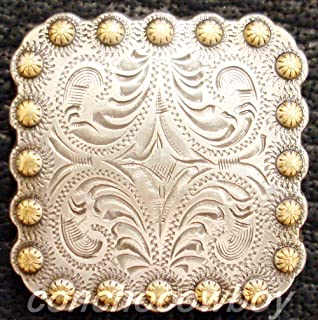 JumpingLight Western Headstall Saddle Horn Cap Gold Berry Square Concho 2-1/4'' Screw Back Perfect for Crafts, Scrap-Booking, Jewelry, Projects, Quilts