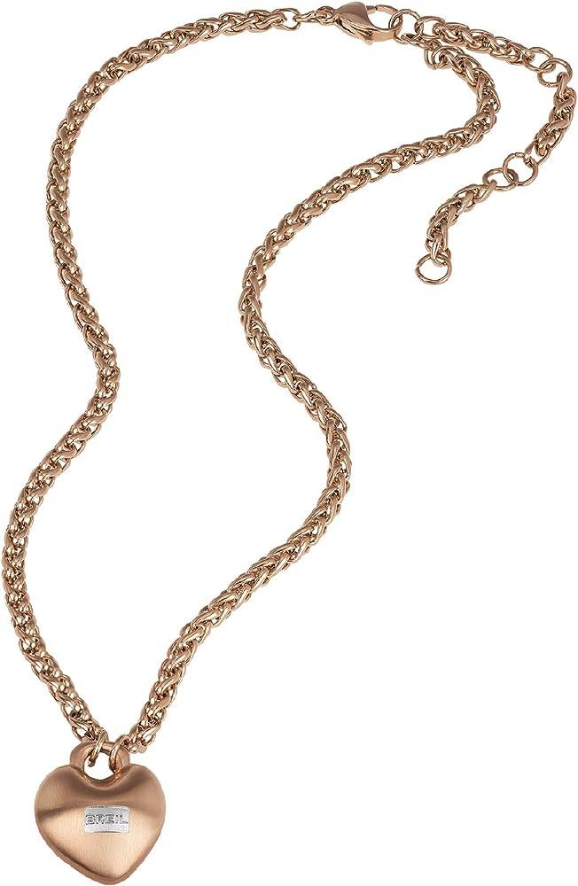 Breil  collezione kilos of love, collana da donna in acciaio colorato colore rose TJ2856
