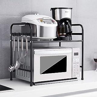 DUDDP Étagère cuisine Cuisine Support de rangement en acier inoxydable-Countertop micro-ondes Rack avec 4 crochets autopor...
