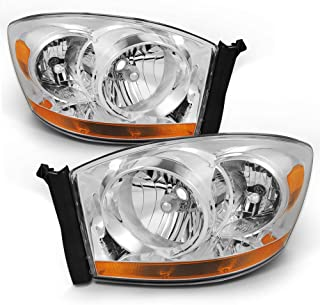 For Dodge Ram Truck OE Replacement Chrome Bezel Headlights Driver/Passenger Head Lamps Pair New