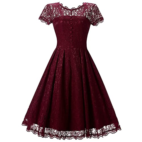 83ad2d71efe37 OLIPHEE Women's Vintage 1950s Lace Overlay Double Layer Knee Length Skater  Swing Dresses