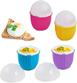Zap Chef Microwave Egg Cooker, Set of 4 - Effortless Breakfast, Microwavable Egg Maker/Poacher, BPA Free, Perfect Scrambled and Poached Eggs in Seconds (4 Pack)