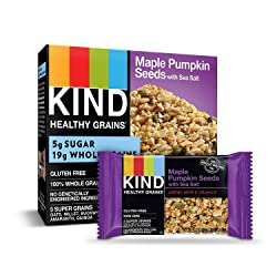 KIND Healthy Grains Bars, Maple Pumpkin Seeds with Sea Salt, Gluten Free, 1.2 oz Bars, 5 Count