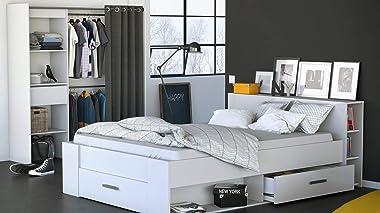 PEGANE Lit 2 Places avec rangements en Bois Coloris Blanc Mat - 150,1 x 76,3 x 217,3 cm