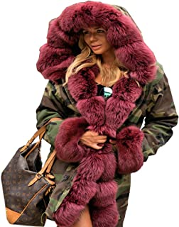 9e189d115 Aofur Womens Hooded Faux Fur Lined Warm Coats Parkas Anoraks Outwear Winter  Long Jackets