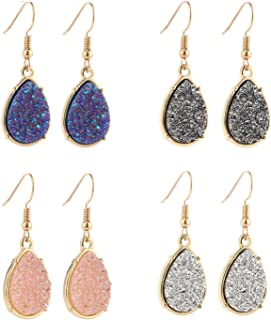 BaubleStar Chic Simulated Druzy Earrings Pack Tear Drop Dangle Gold Earrings for Women Girl Stone Crystal Sparkly Oval Ore...