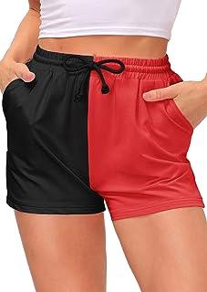 Kate Kasin Women Colorblock Elastic Hotpants Running Lounge Shorts with Pocket