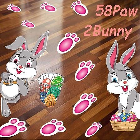 Easter Egg Hunt Handmade 20 Paper Easter Bunny Footprints /& 10 Bunny Faces