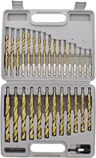 ABN Quick-Change 1/4in Hex Shank 30-Piece Set, Roller Forged and Sharpened Edges – Drill Bit Sizes 1/16in to 1/2in