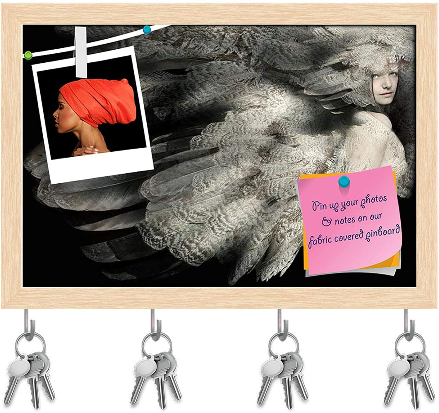 Artzfolio Portrait of A Girl with Plumage D3 Key Holder Hooks   Notice Pin Board   Natural Brown Frame 8.5 X 6Inch