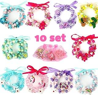 PinkSeep Beaded Bracelets for Kids- 10 Pack 30 PC, Unicorn Mermaid Rainbow Bracelet, Little Girl Plastic Wood Bracelets
